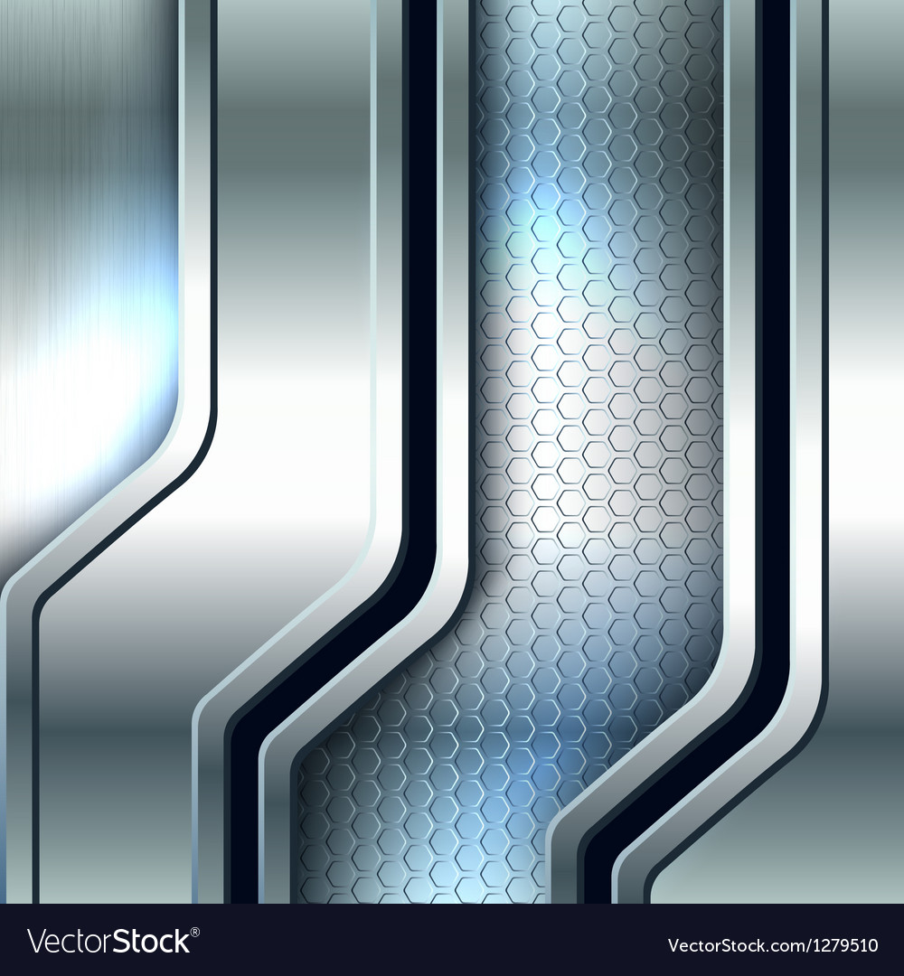 Abstract background metallic silver banners vector