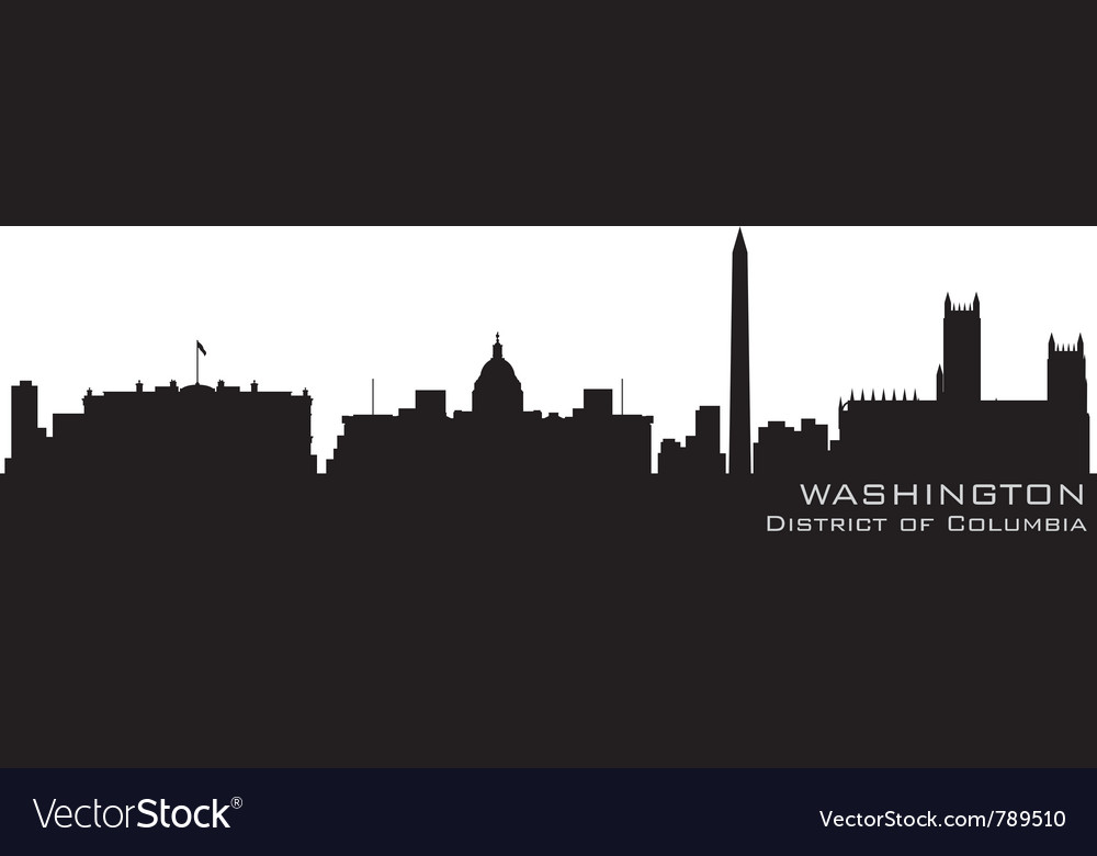 Washington district of columbia skyline detailed s vector