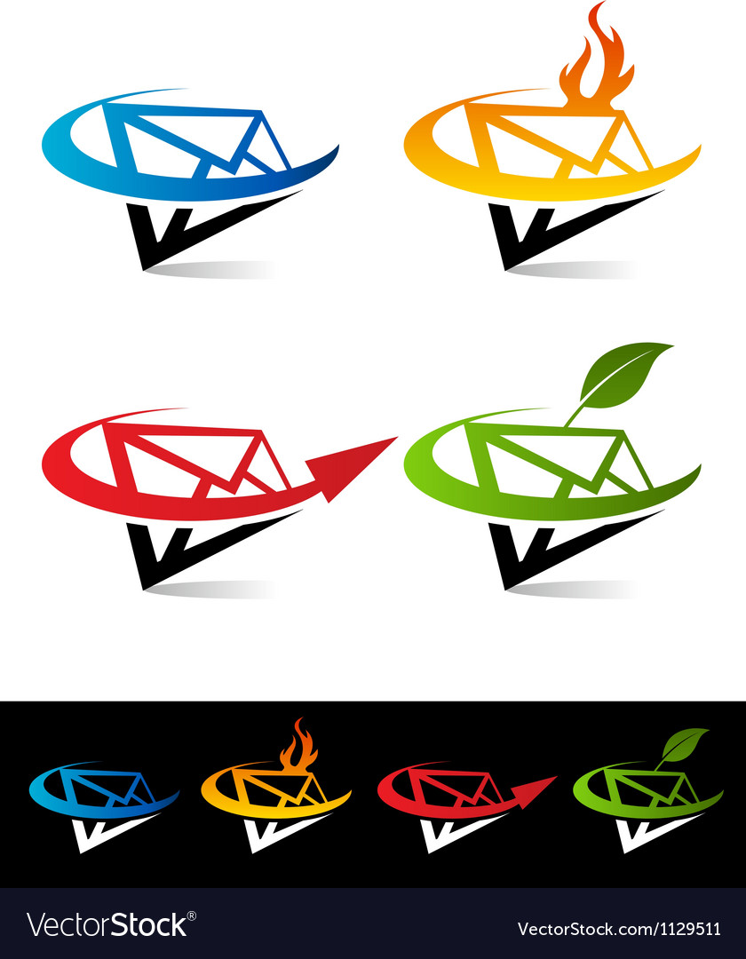 Swoosh envelope icons vector