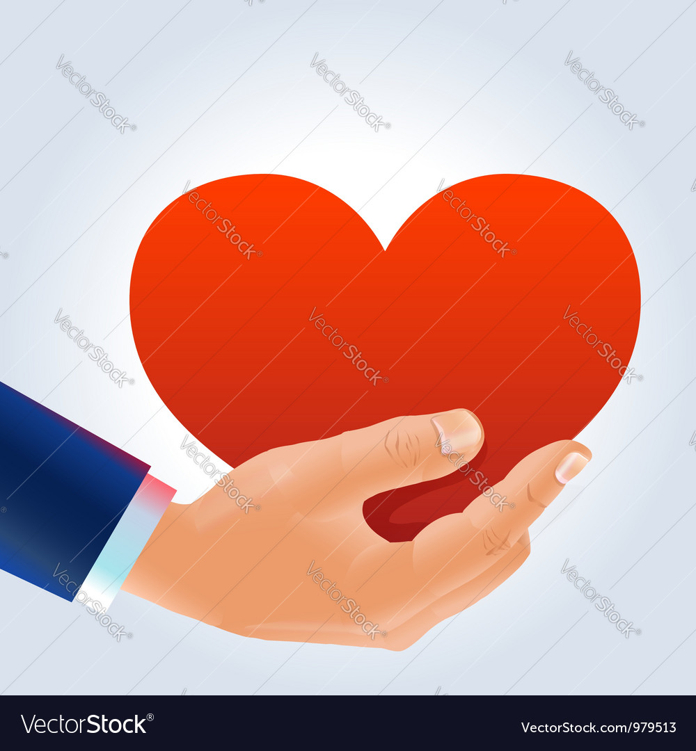 Male hand holding deep red heart vector