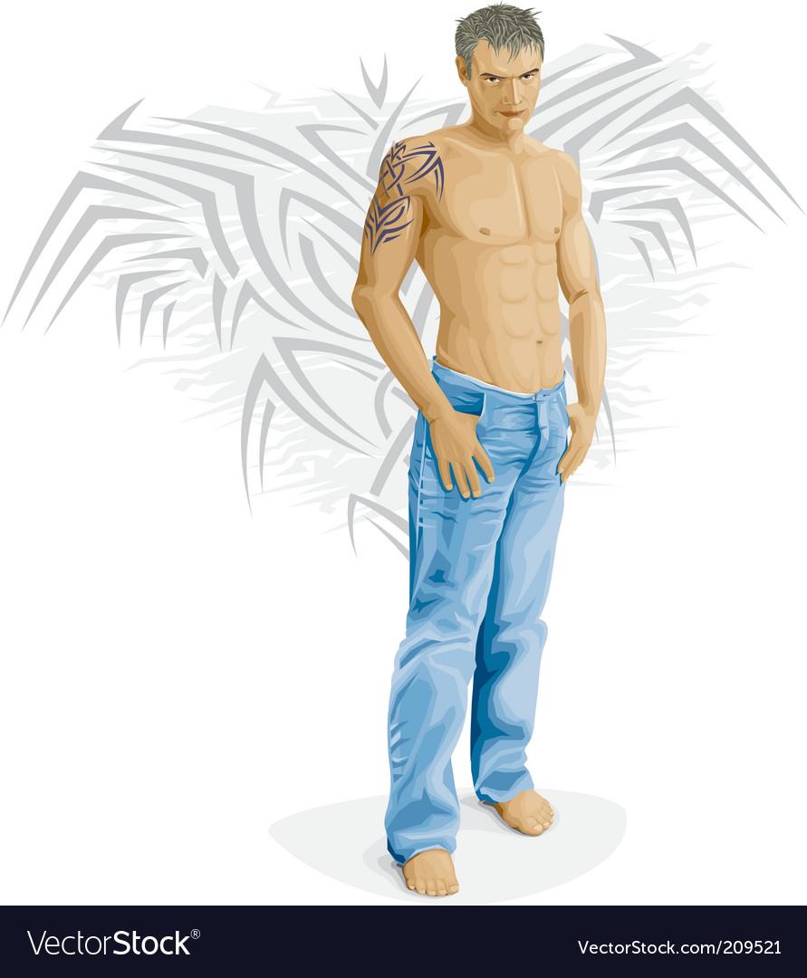 Sexy young man vector