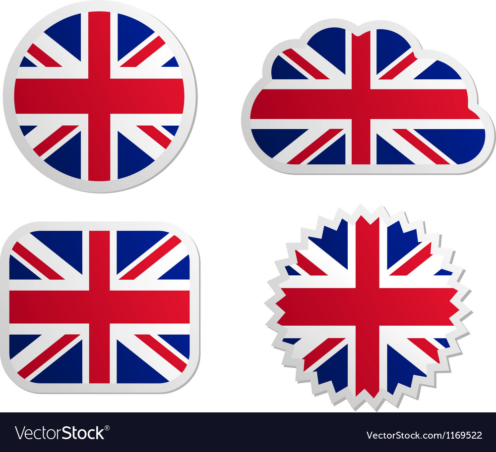 United kingdom flag labels vector