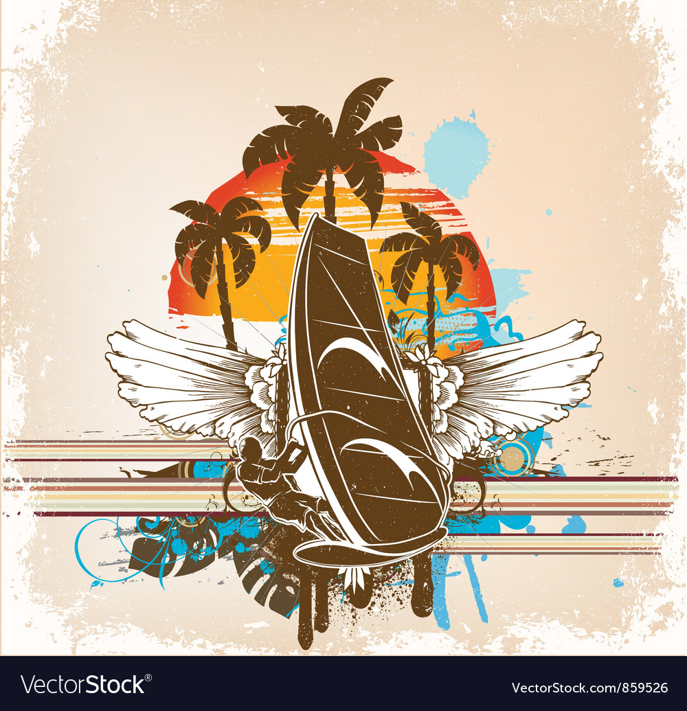 Windsurfer summer background vector