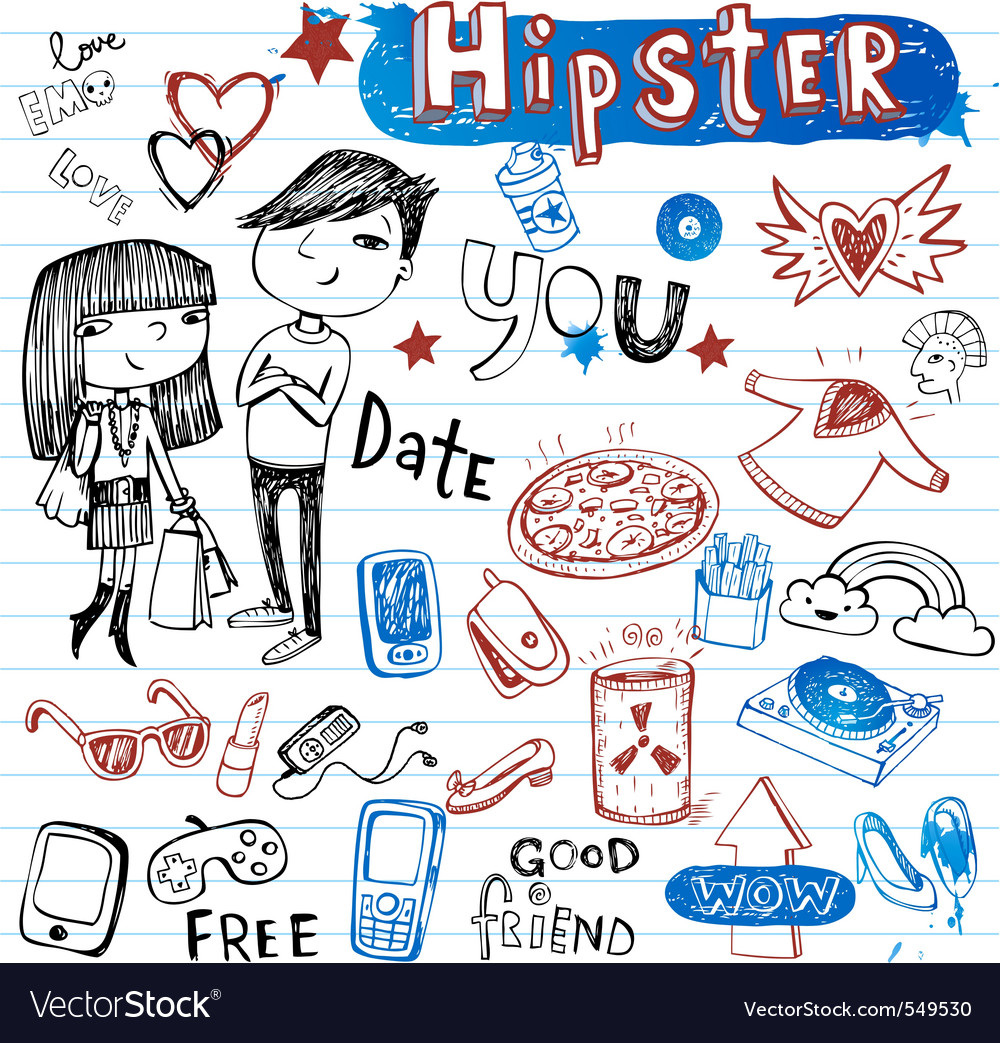 Hipsters doodle set vector