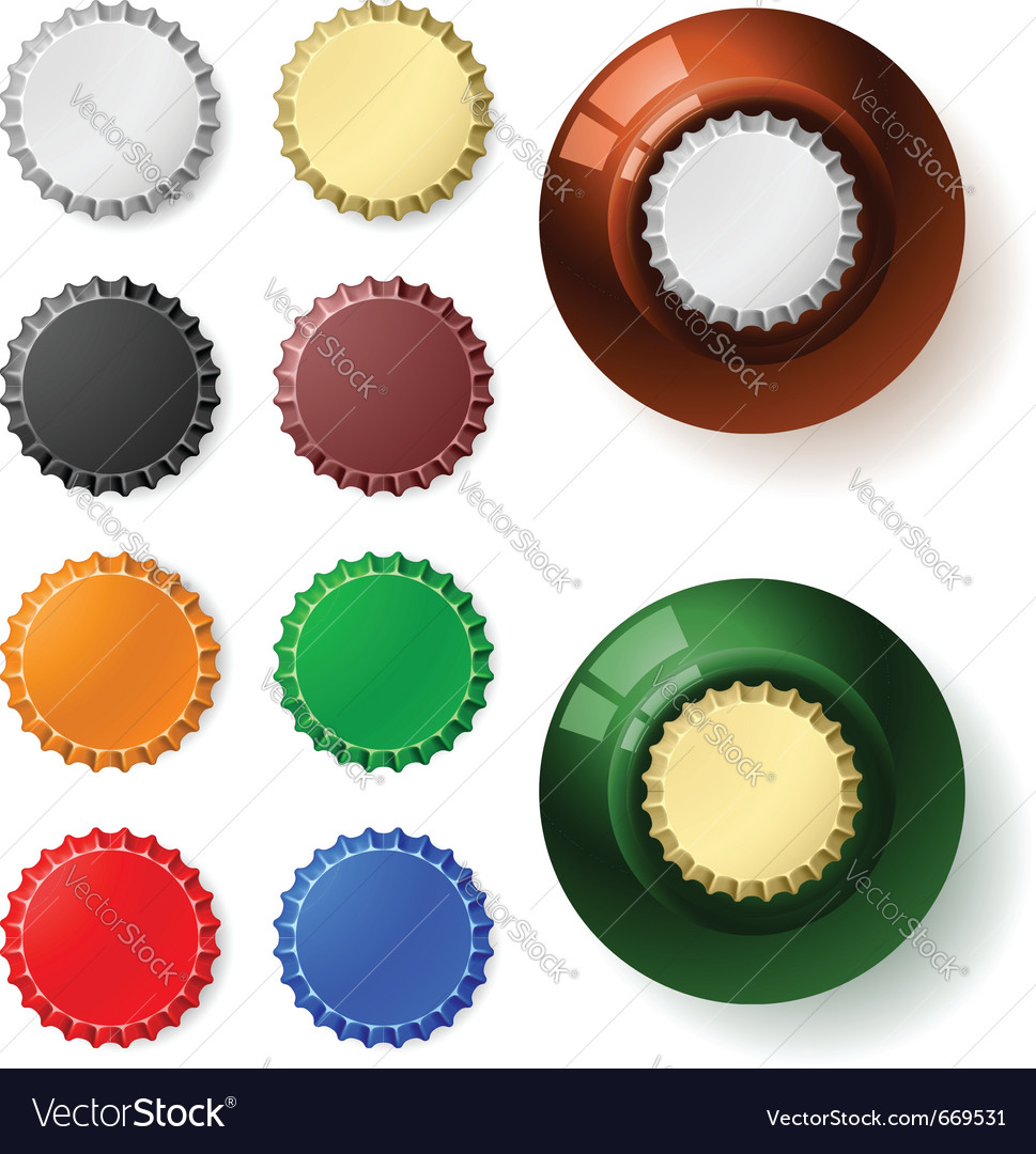 Multicolored bottle cap vector
