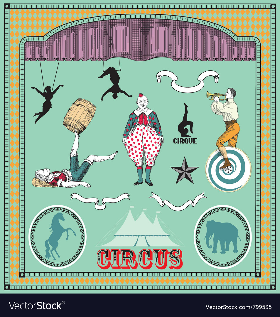 Vintage circus elements vector