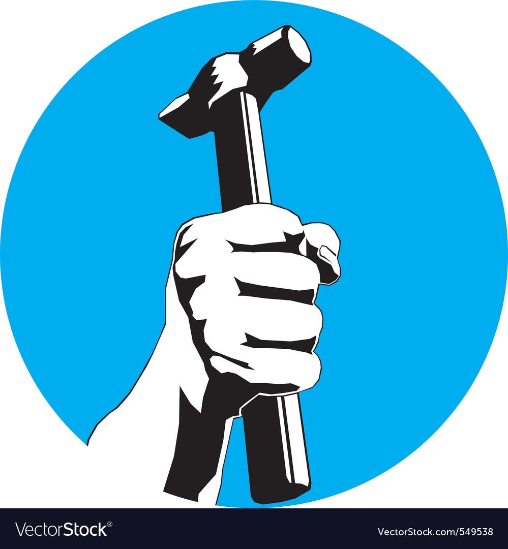 Hammer hand vector