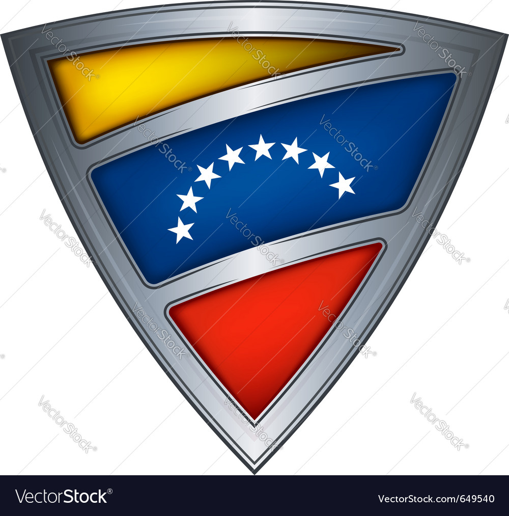 Steel shield with flag venezuela vector