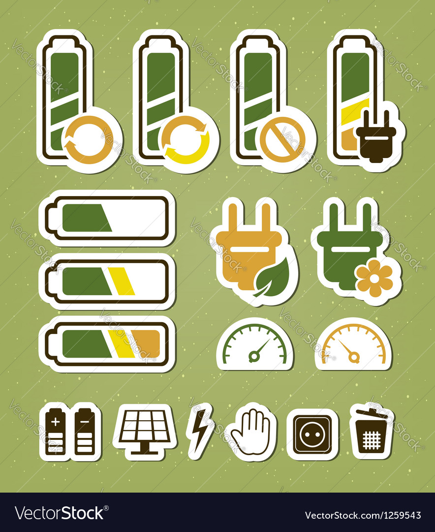 Battery recycling icons set vector
