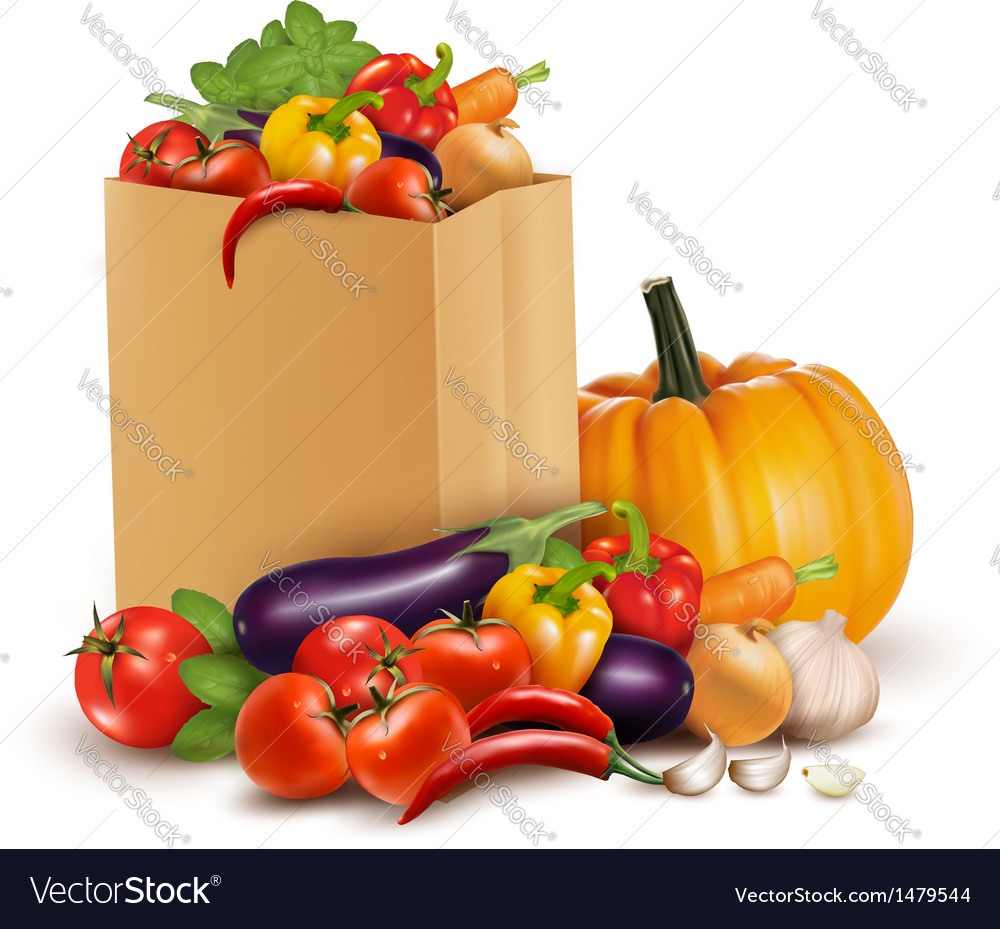 Background with fresh vegetables in paper bag vector