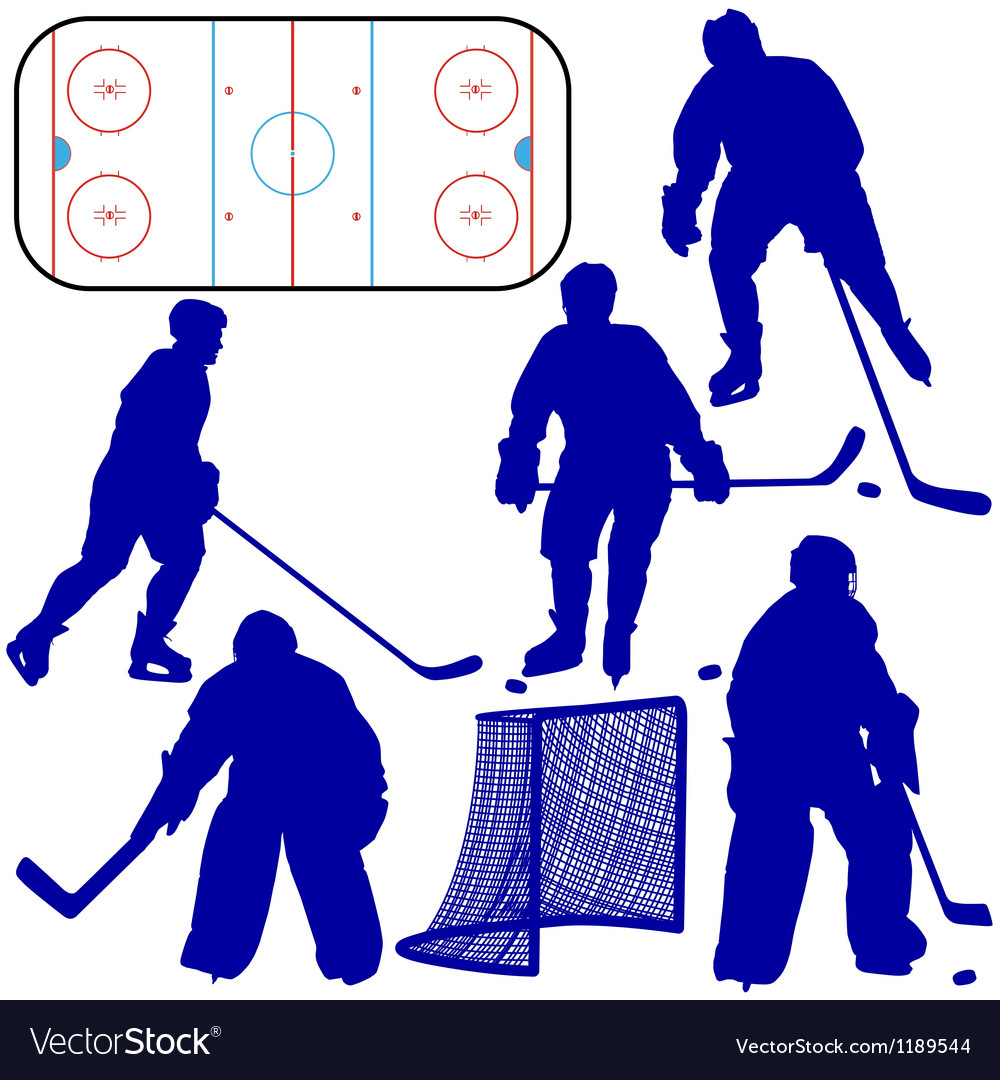 Set of silhouettes of hockey player isolated on wh vector