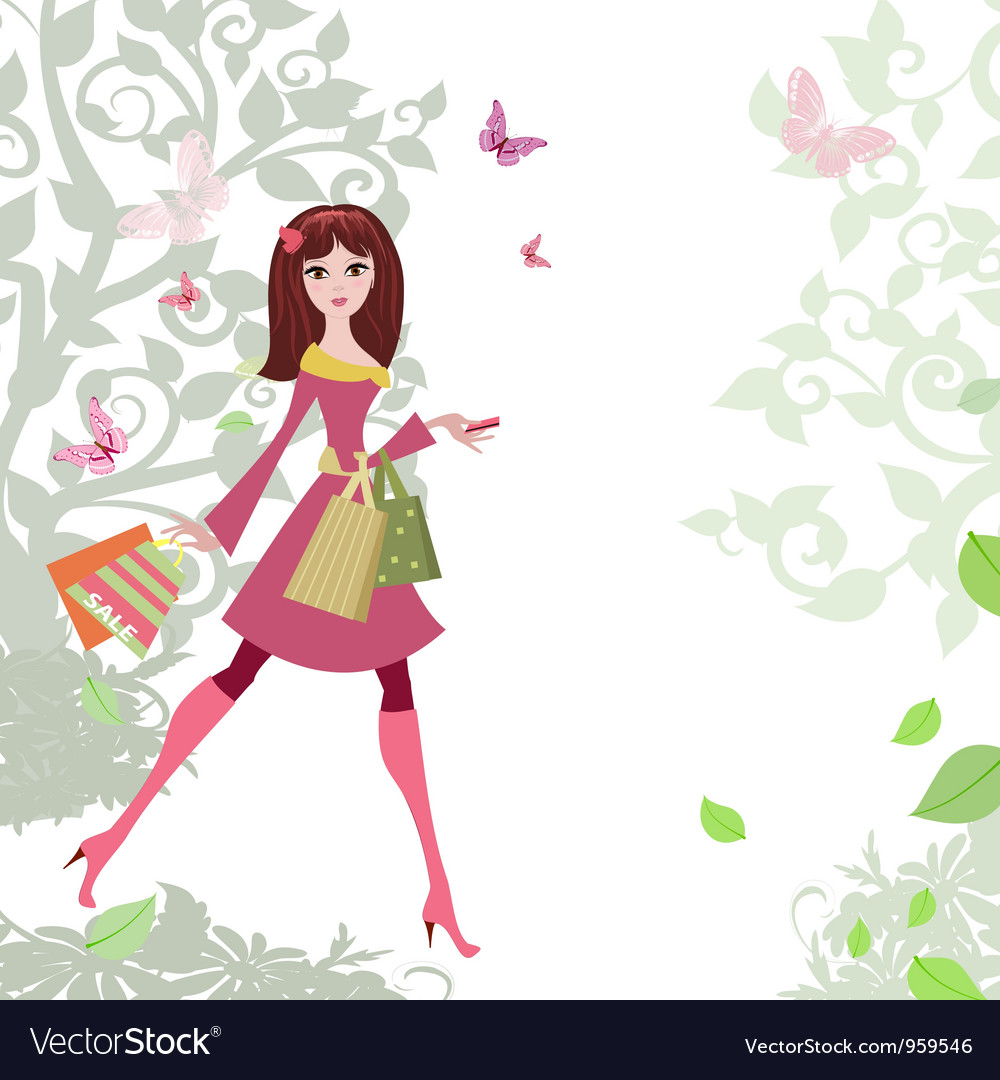 Woman shopping3 vector
