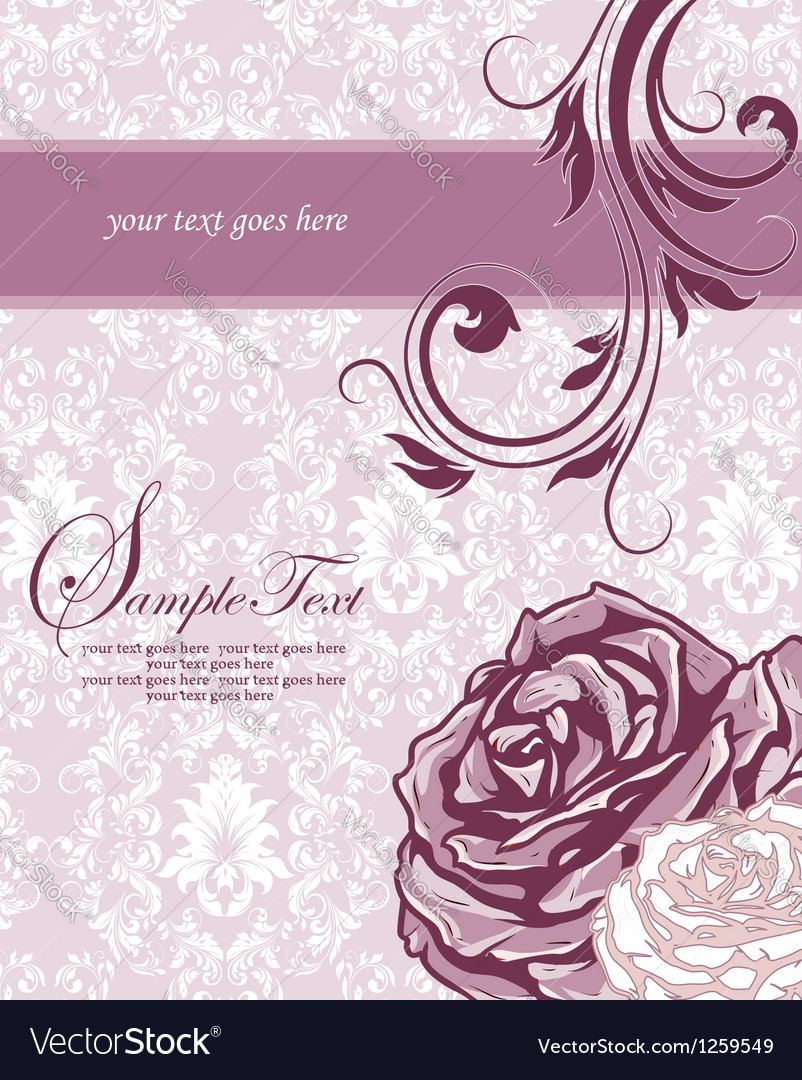 Wedding floral card vector