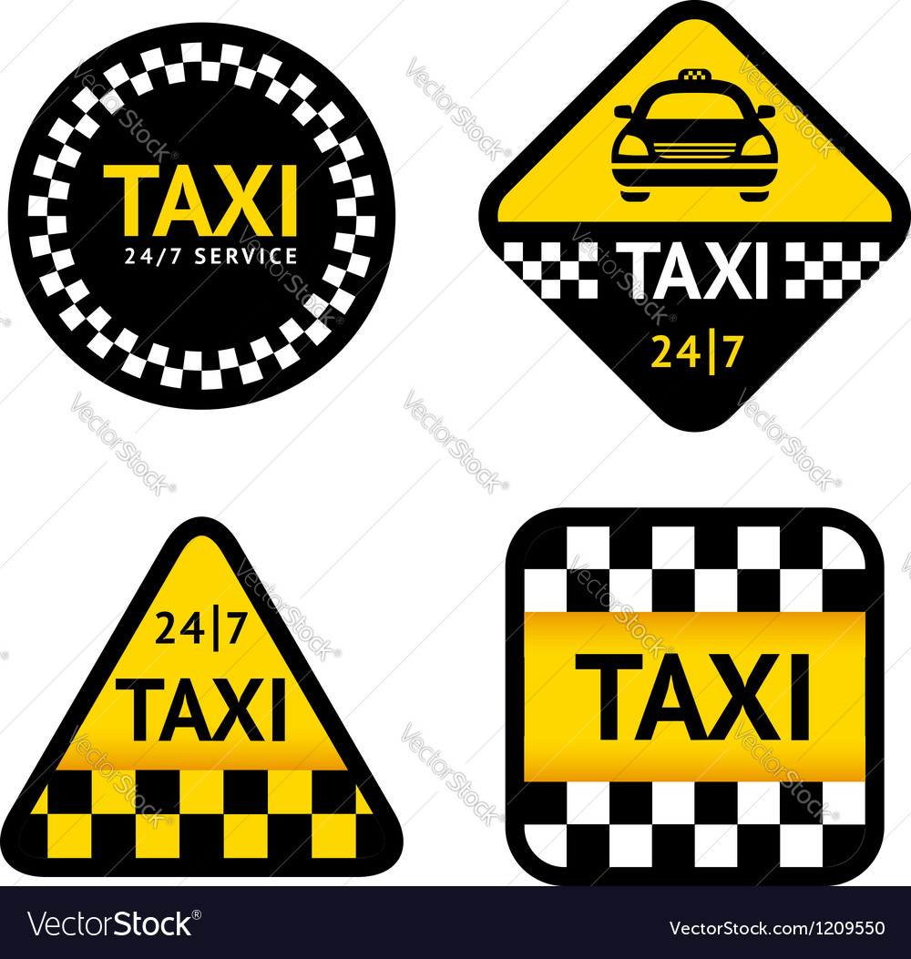 Taxi - set stickers vector