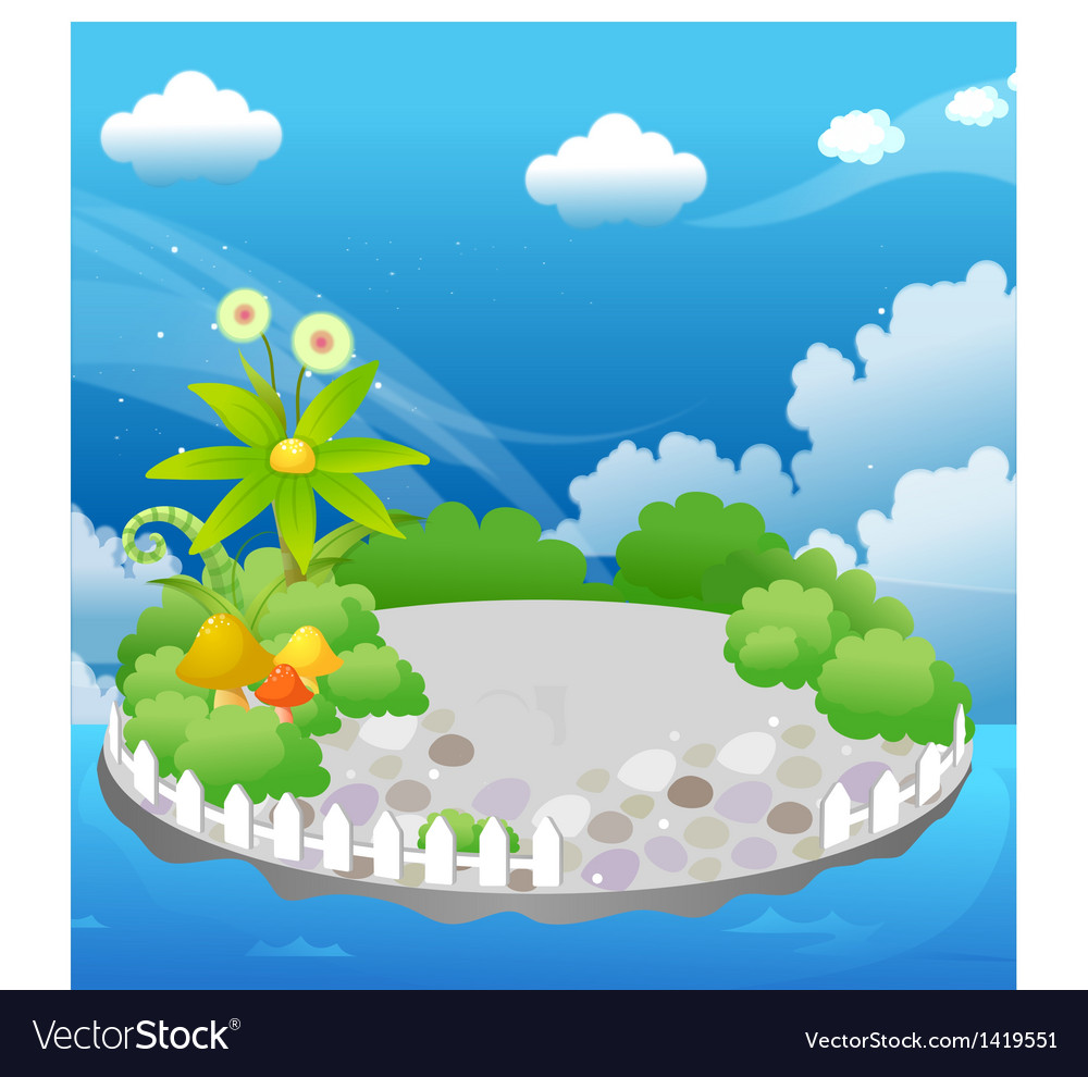 Garden in blue sky vector