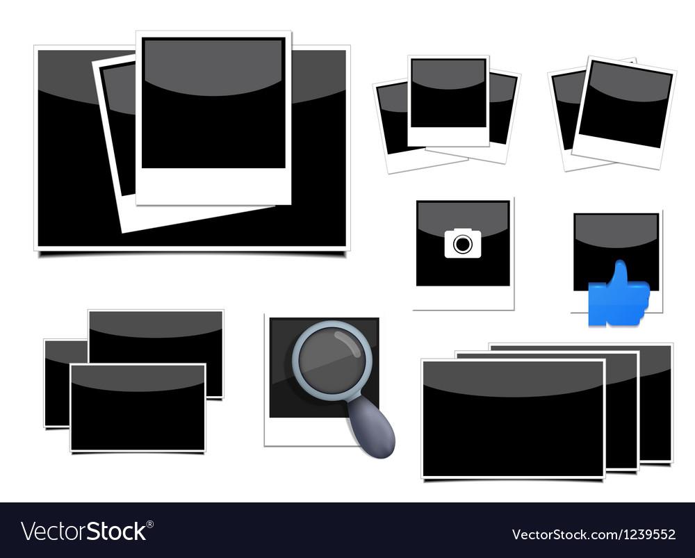 Instant photo frame set vector
