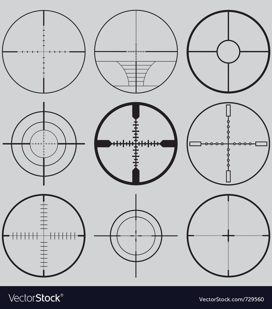 Gun crosshairs silhouettes vector
