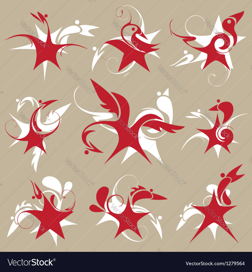 Stylized star-bird set of emblem vector