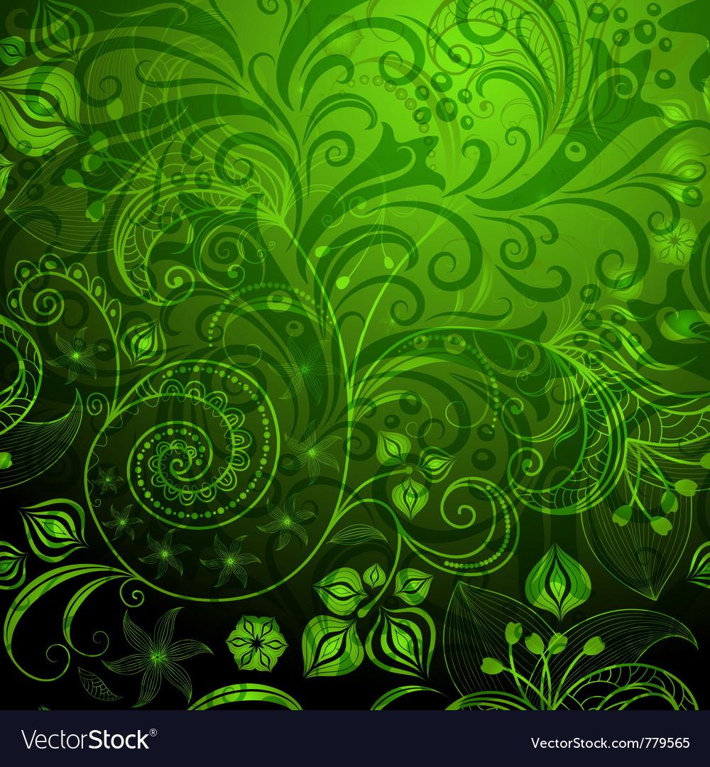 Green vivid floral pattern vector