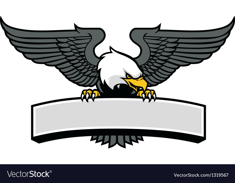 Eagle mascot griping the sign vector
