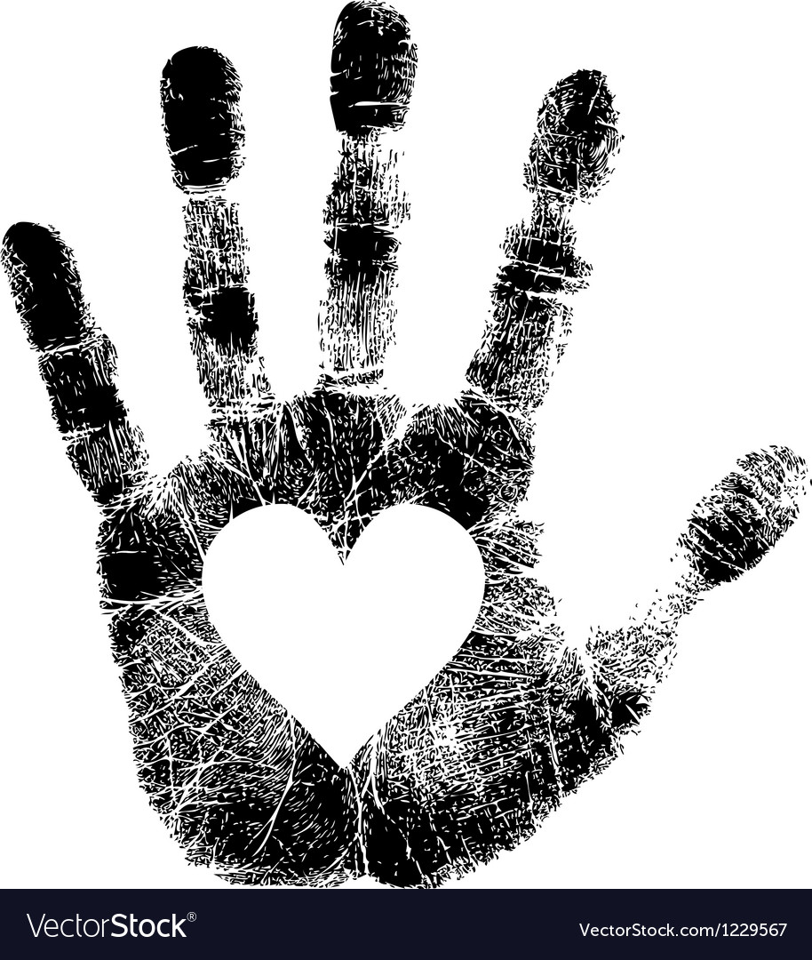 Hand print with heart vector