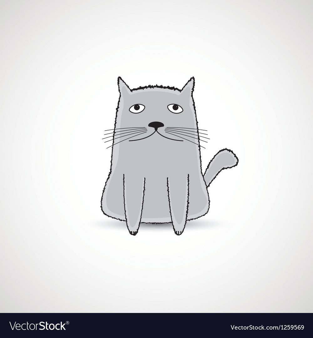 Cute fat kitten vector