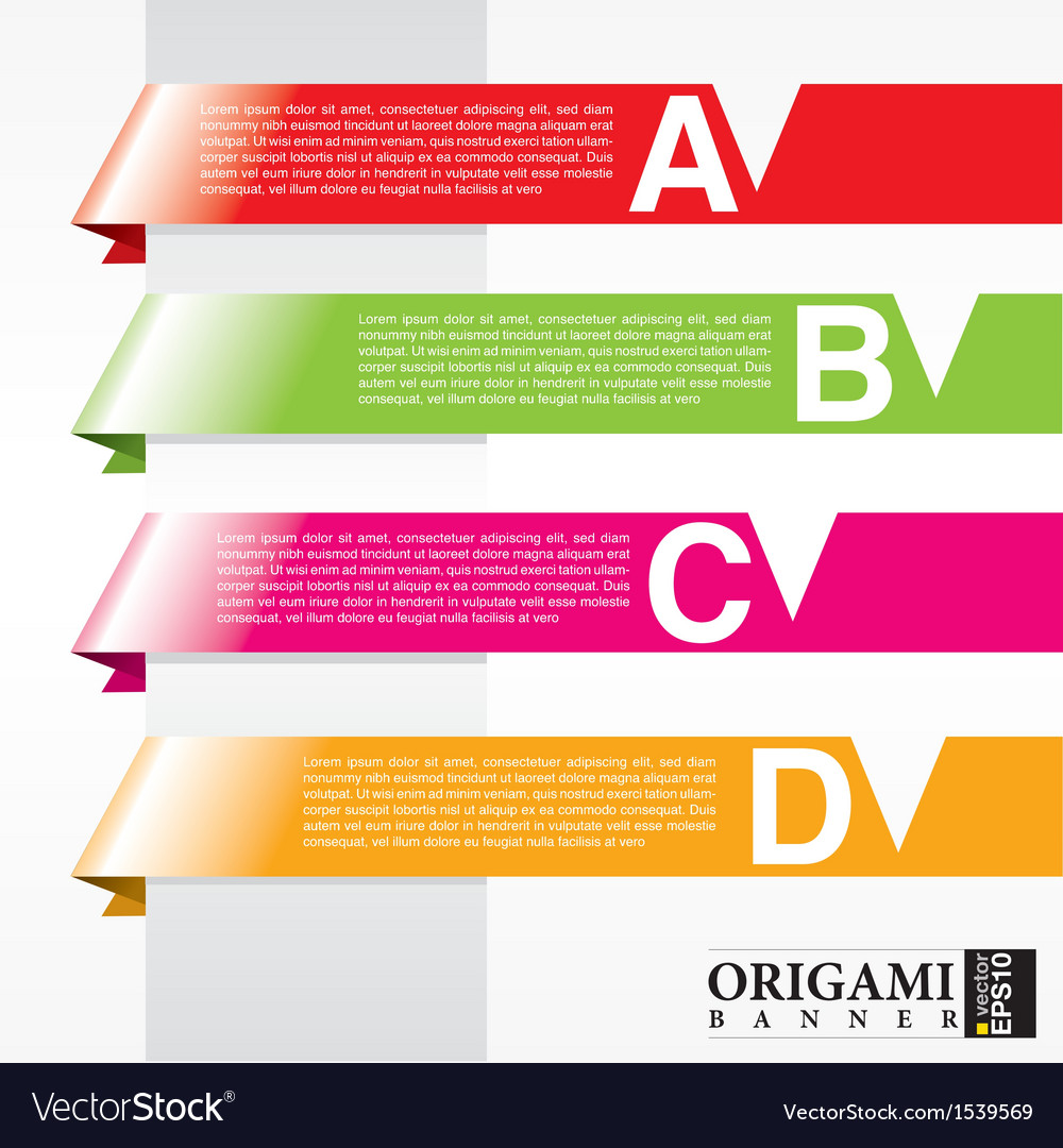 Horizontal origami ribbon banners eps10 vector