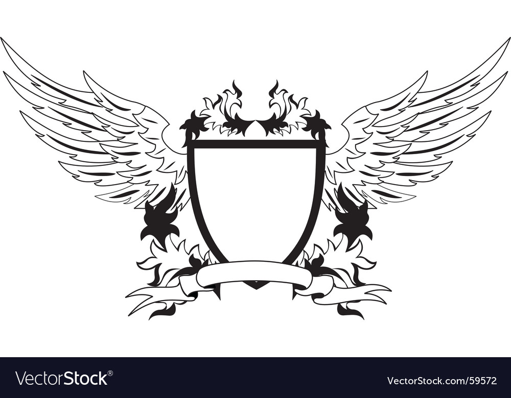 Vintage shield with wings vector