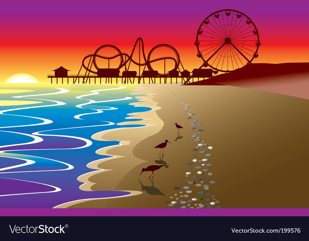 Beach and boardwalk vector