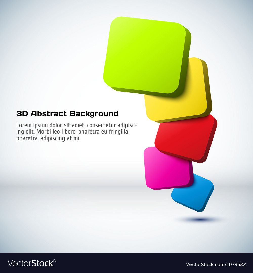 Colorful 3d rectangle background vector