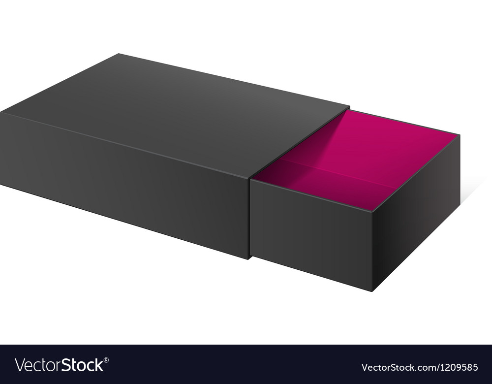 Black realistic package cardboard sliding box vector