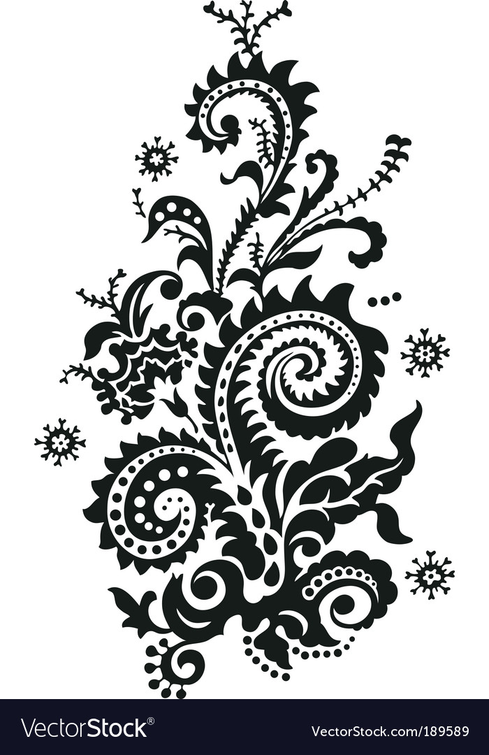 Paisley floral design vector