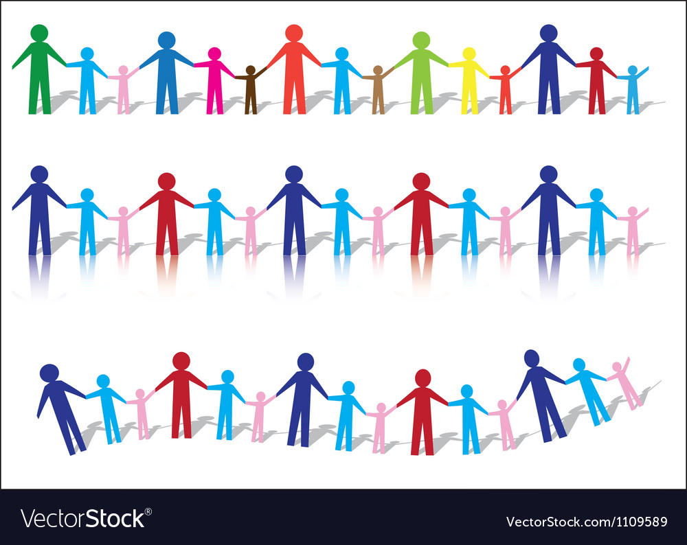 Paper people families vector