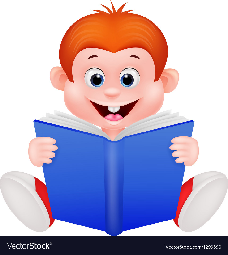 Cartoon boy reading a book vector