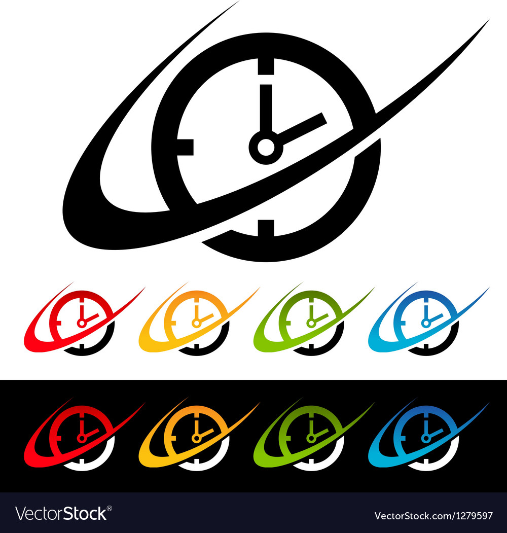 Swoosh clock logo icons vector