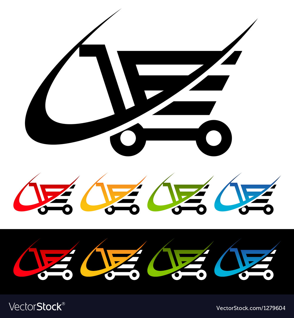 Swoosh shopping cart icons vector
