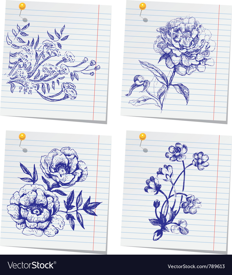 Hand-drawn doodle flower set in sketchbook vector