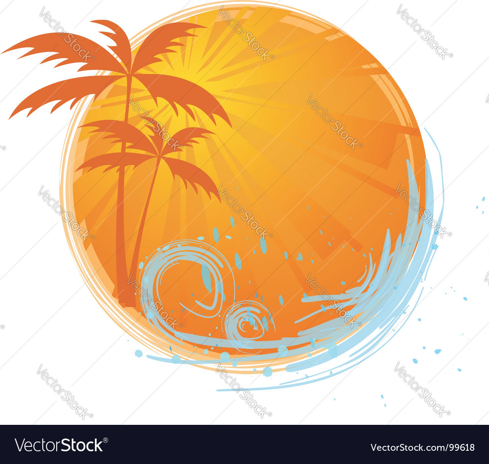 Round banner with palm trees vector