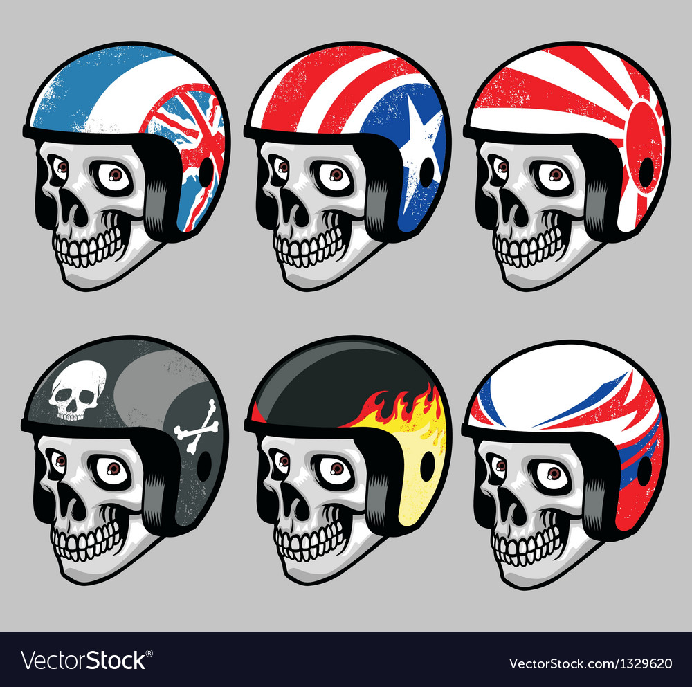 Skull wearing various retro helmet vector
