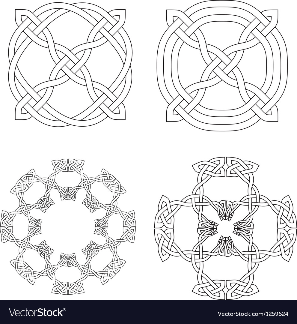 4 celtic knot patterns vector