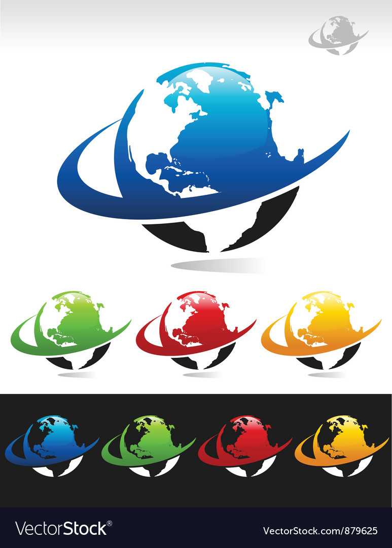 Swoosh planet earth icons vector