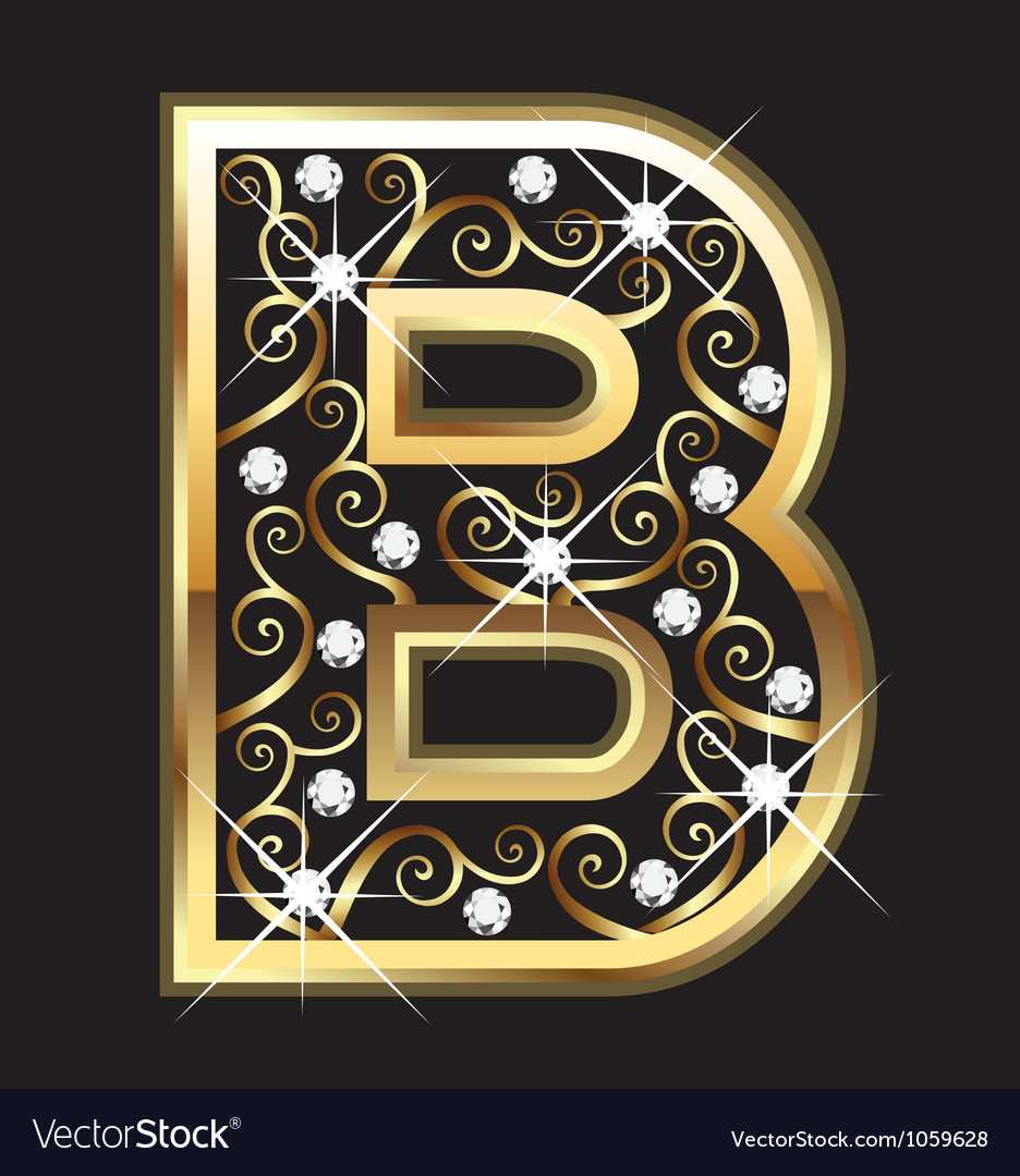 B gold letter with swirly ornaments vector