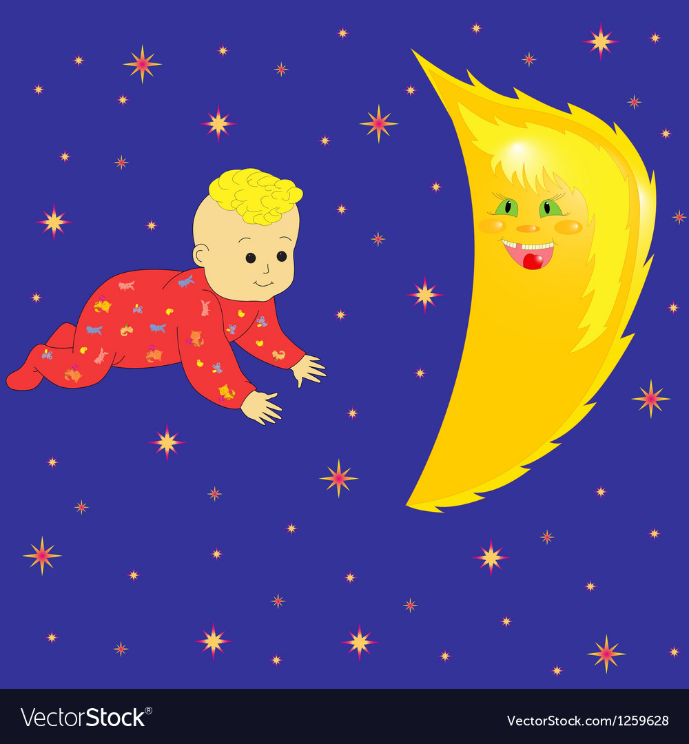 Moon in baby dreaming vector