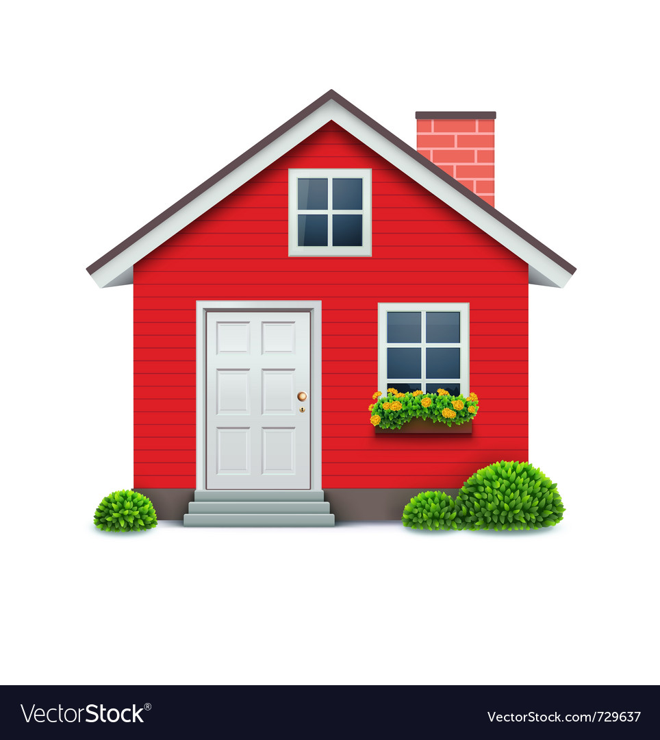 Red house icon vector