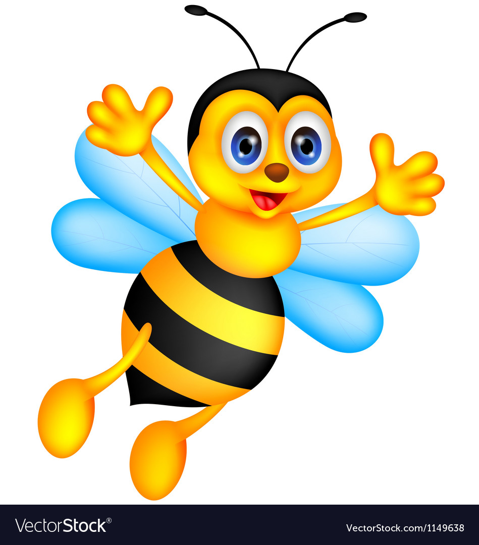 Funny bee cartoon vector