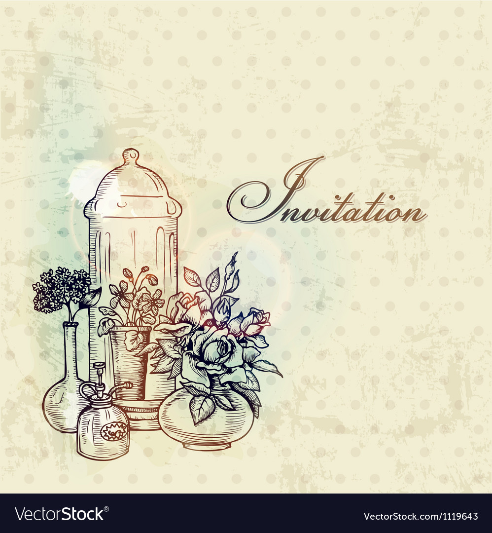 Vintage spring card with flowers vector