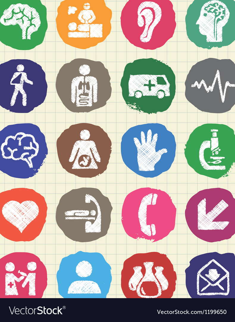 Medical and human web icons set drawn by chalk vector