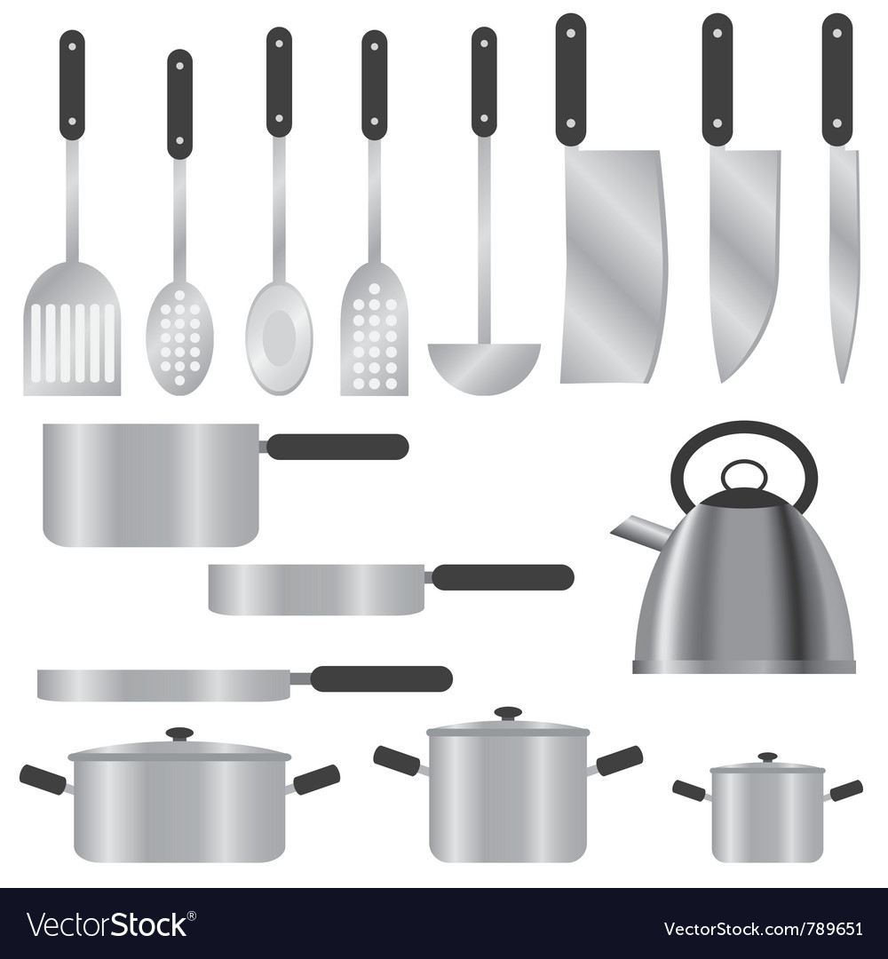 Set of silver kitchen utensils vector