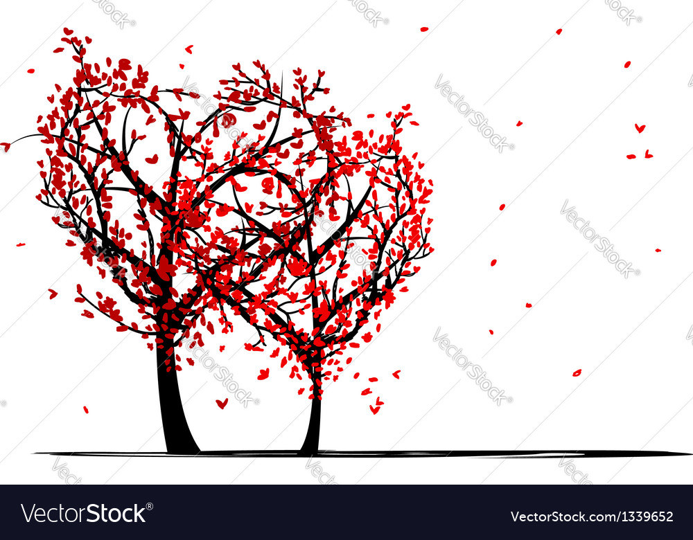 Trees of love for your design vector