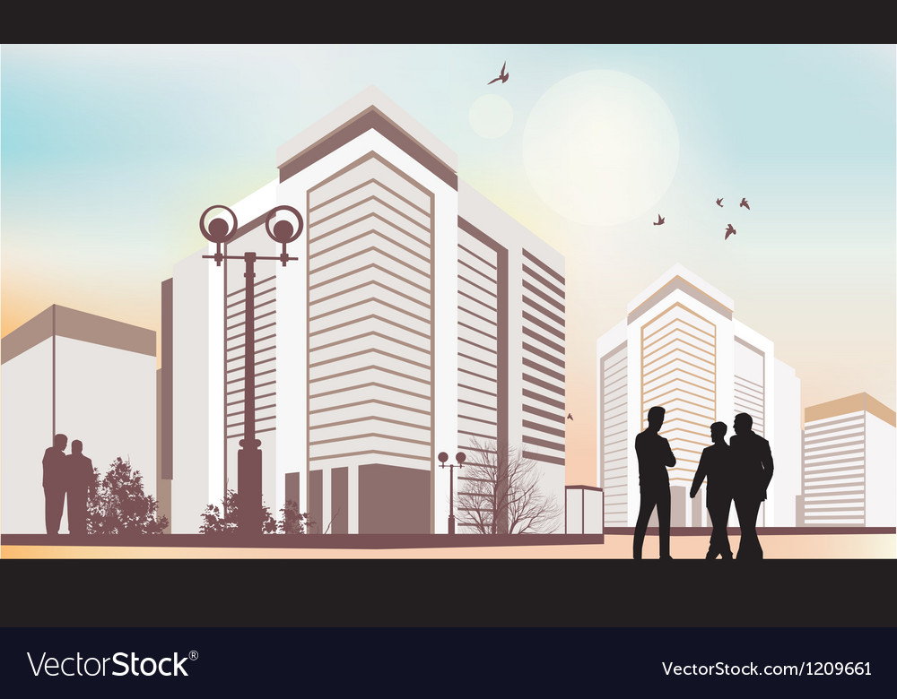 City silhouettes in purple colors vector